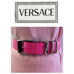 Versace patent leather pink belt